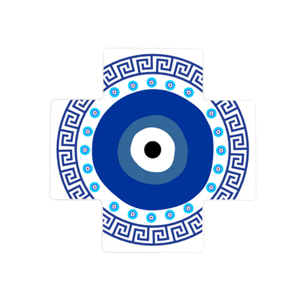 Evil Eye (Mati) and Greek Key Ceramic Cross