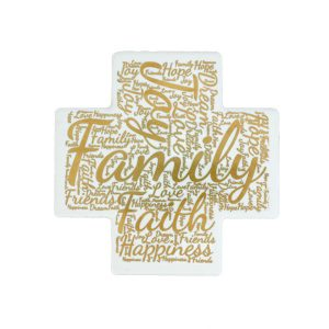 Word Art Ceramic Cross - Family - English - Gold