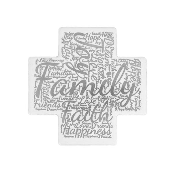 Word Art Ceramic Cross - Family - English - Silver