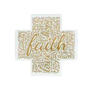 Word Art Ceramic Cross - Faith - English - Gold