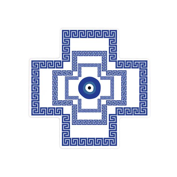 Greek Key and Evil Eye (Mati) Ceramic Cross