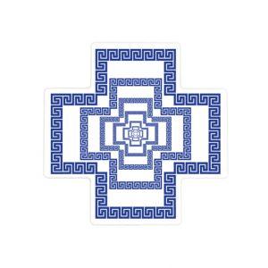 Greek Key Tunnel Pattern Ceramic Cross